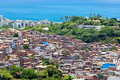 Aerial View of Favela (Shanty Town) in Salvador, Bahia, Brazil - stock photo