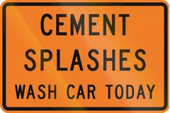 New Zealand road sign - Cement splashes, wash your car today to prevent damag - stock illustration