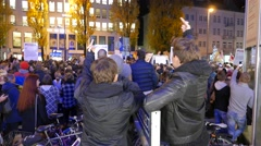 4K UHD Anti Pegida (Right-wing) Demonstration in Munich 09.11.2015 Stock Footage