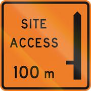 New Zealand road sign - Works site access 100 metres ahead on left - stock illustration