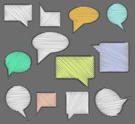 Stock Illustration of Set of speech bubble icons with scribble hand drawn effect