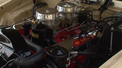 1956 Packard Studebaker V8 Sky Power 352 engine with dual quads - stock footage
