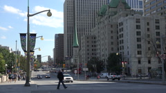 Traffic and pedestrians on Elgin Street, Ottawa, Canada Stock Footage