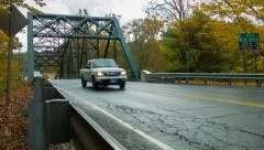 Steel Bridge roadway with traffic, Autumn in New England, Foliage Stock Footage