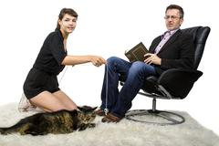 Allergic Father Dislikes Pet Cat Stock Photos