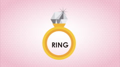 Ring as a sign of love, video animation Stock Footage