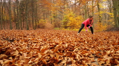 Woman with tracker app warming up steadicam 4K. Stock Footage