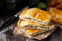 Homemade pie stuffed with chicken ang broccoli - stock photo