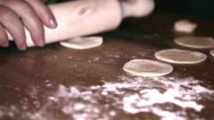Preparing dough to make a varenik Stock Footage