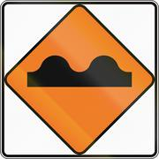 New Zealand road sign - Uneven surface - stock illustration