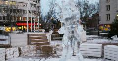 Gustav Adolfs torg ready for Christmas Holiday with ice statue Stock Footage
