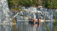 People Swimming on Ferry at Marble Canyon Ruskeala in Karelia, Russia Stock Footage