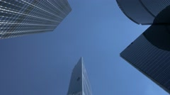 Skyscrapers in business centre, Hong Kong. Panning shot. Flat picture profile. Stock Footage