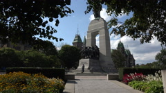 Zoom in from National War Memorial, Ottawa, Canada Stock Footage