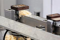 detail of woodworking machine - stock photo