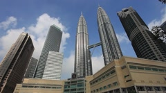 Kuala Lumpur City Centre (Klcc) On Sunny Day, Pan left to right. Stock Footage