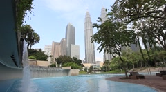 The view from water park on Kuala Lumpur City Centre (Klcc) Stock Footage