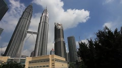 Kuala Lumpur City Centre (Klcc) On Sunny Day, Pan right to left. Stock Footage