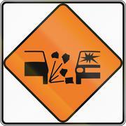 New Zealand road sign - Gravel surface - stock illustration