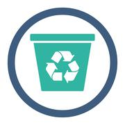 Recycle Bin Rounded Raster Icon - stock illustration