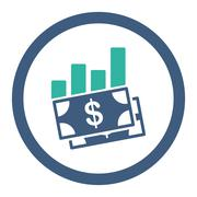 Sales Bar Chart Rounded Raster Icon Stock Illustration