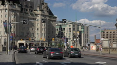 Traffic on Rideau Street, Ottawa city road, Canada Stock Footage