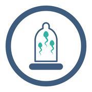 Sperm In Condom Rounded Raster Icon - stock illustration