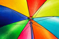 Texture of under Colorful umbrella in ligh day Stock Photos