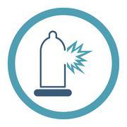 Condom Damage Rounded Raster Icon - stock illustration