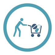 Drugs Shopping Rounded Raster Icon Stock Illustration