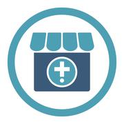Drugstore Rounded Raster Icon Stock Illustration