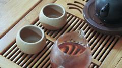Master of tea pouring tea in pialas, slow motion. Tea ceremony Stock Footage