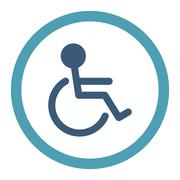 Handicapped Rounded Raster Icon - stock illustration