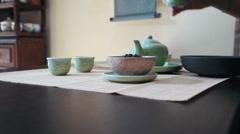 Master of tea warm up piala for tea ceremony Stock Footage
