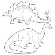 Stegosaurus-apatosaurus lineart Stock Illustration