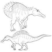 spinosaurus lineart - stock illustration