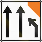 New Zealand road sign - Right lane closed ahead - stock illustration