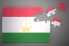 puzzle with the national flag of tajikistan - stock photo