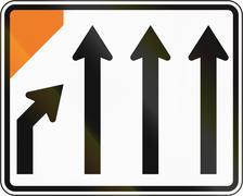 New Zealand road sign - Left lane closed ahead - stock illustration