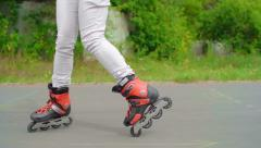 Learning to Inline Skate Stock Footage