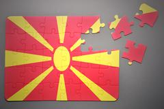 Stock Photo of puzzle with the national flag of macedonia