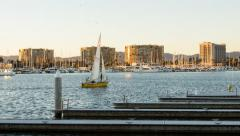 Marina Del Rey, Los Angeles, California Day To Night Sunset Timelapse Stock Footage