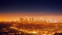 Cinemagraph - City Los Angeles night cityscape view downtown 4K UHD Motion Photo Stock Footage