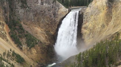 Wide view of Lower Yellowstone Falls Stock Footage