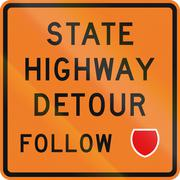 Stock Illustration of New Zealand road sign - Detour ahead, follow state highway shield
