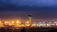Cinemagraph - Control tower Los Angeles International airport LAX. Motion Photo Stock Footage