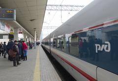 MOSCOW, RUSSIA -01.11.2015. High-speed train at Kursky station - stock photo