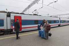 MOSCOW, RUSSIA -01.11.2015. High-speed train at Kursky station Stock Photos