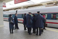 MOSCOW, RUSSIA -01.11.2015. Conductor worth about High-speed train at Kursky Stock Photos