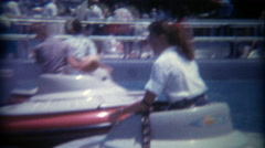 1966: Disneyland flying saucers amusement ride in the old Tomorrowland exhibit. Stock Footage